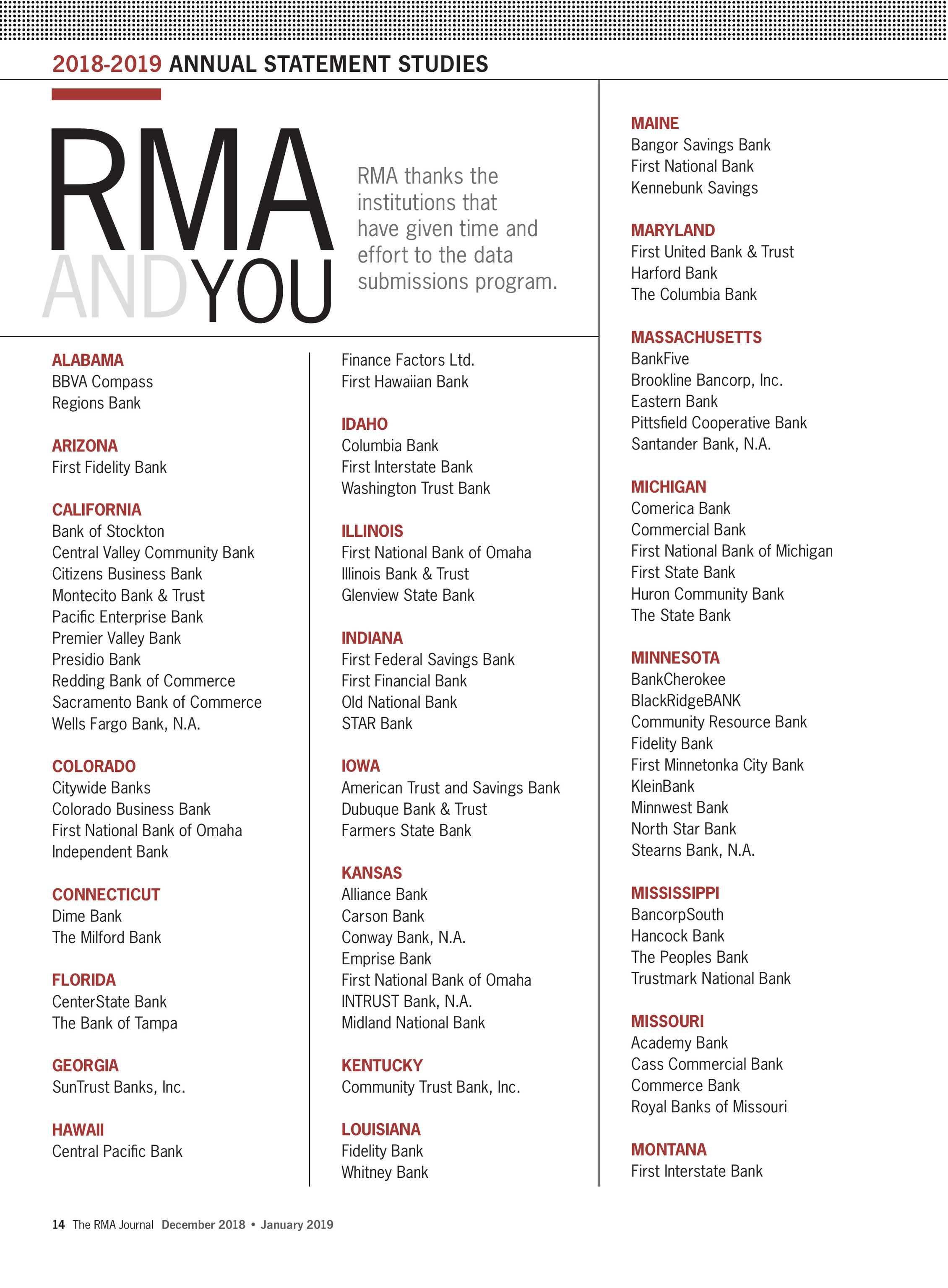Florida Judgment Interest Rate December 2019 Calendar The RMA Journal   December 2018 January 2019   page 14